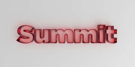 Summit - Red glass text on white background - 3D rendered royalty free stock image.