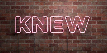 knew: KNEW - fluorescent Neon tube Sign on brickwork - Front view - 3D rendered royalty free stock picture. Can be used for online banner ads and direct mailers.