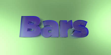 royalty free: Bars - colorful glass text on vibrant background - 3D rendered royalty free stock image.