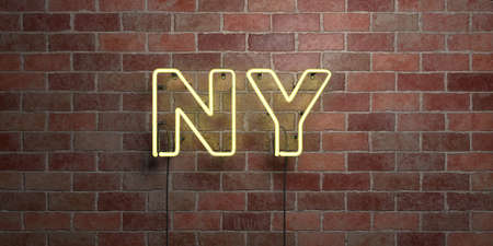 ny: NY - fluorescent Neon tube Sign on brickwork - Front view - 3D rendered royalty free stock picture. Can be used for online banner ads and direct mailers. Stock Photo