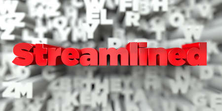 Streamlined -  Red text on typography background - 3D rendered royalty free stock image. This image can be used for an online website banner ad or a print postcard.