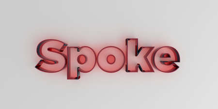 royalty free: Spoke - Red glass text on white background - 3D rendered royalty free stock image.