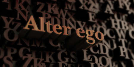 Alter Ego - Wooden 3D rendered lettersmessage.  Can be used for an online banner ad or a print postcard.