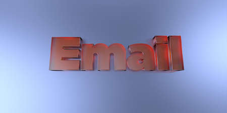 royalty free: Email - colorful glass text on vibrant background - 3D rendered royalty free stock image.