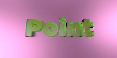 Point - colorful glass text on vibrant background - 3D rendered royalty free stock image.