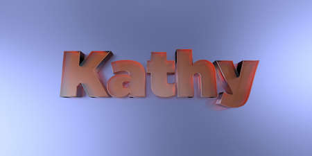 Kathy - colorful glass text on vibrant background - 3D rendered royalty free stock image. Stock Photo