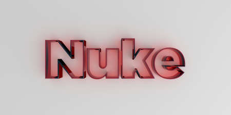 nuke: Nuke - Red glass text on white background - 3D rendered royalty free stock image.