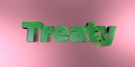 treaty: Treaty - colorful glass text on vibrant background - 3D rendered royalty free stock image.