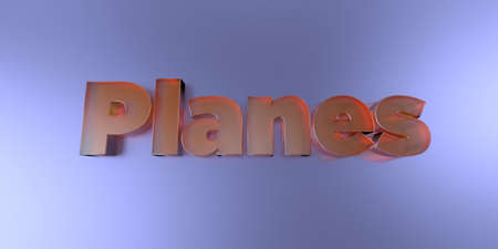 Planes - colorful glass text on vibrant background - 3D rendered royalty free stock image.
