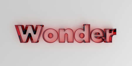 royalty free: Wonder - Red glass text on white background - 3D rendered royalty free stock image.