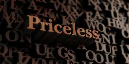 priceless: Priceless - Wooden 3D rendered lettersmessage.  Can be used for an online banner ad or a print postcard. Stock Photo