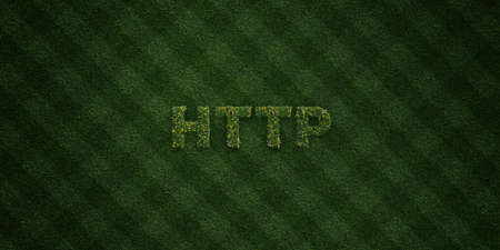 HTTP - fresh Grass letters with flowers and dandelions - 3D rendered royalty free stock image. Can be used for online banner ads and direct mailers.