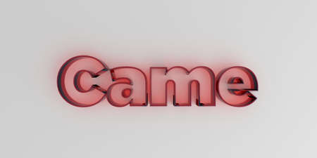 royalty free: Came - Red glass text on white background - 3D rendered royalty free stock image.