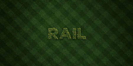 rail yard: RAIL - fresh Grass letters with flowers and dandelions - 3D rendered royalty free stock image. Can be used for online banner ads and direct mailers.