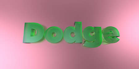 royalty free: Dodge - colorful glass text on vibrant background - 3D rendered royalty free stock image.