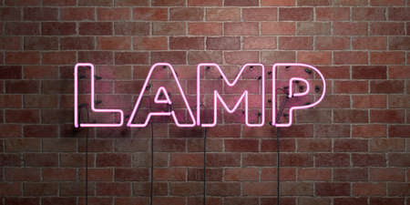 LAMP - fluorescent Neon tube Sign on brickwork - Front view - 3D rendered royalty free stock picture. Can be used for online banner ads and direct mailers.