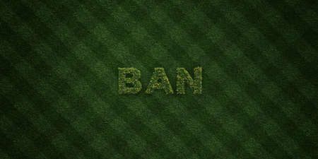 BAN - fresh Grass letters with flowers and dandelions - 3D rendered royalty free stock image. Can be used for online banner ads and direct mailers.