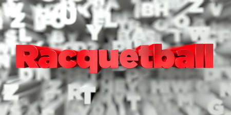 racquetball: Racquetball -  Red text on typography background - 3D rendered royalty free stock image. This image can be used for an online website banner ad or a print postcard.