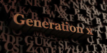 Generation X - Wooden 3D rendered letters/message.  Can be used for an online banner ad or a print postcard. Reklamní fotografie - 72564447
