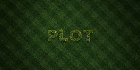 grass plot: PLOT - fresh Grass letters with flowers and dandelions - 3D rendered royalty free stock image. Can be used for online banner ads and direct mailers.