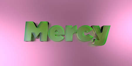 Mercy - colorful glass text on vibrant background - 3D rendered royalty free stock image.