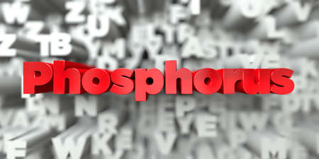 white phosphorus: Phosphorus -  Red text on typography background - 3D rendered royalty free stock image. This image can be used for an online website banner ad or a print postcard. Stock Photo