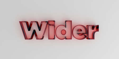 Wider - Red glass text on white background - 3D rendered royalty free stock image. Stock Photo