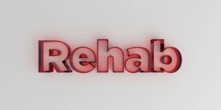 royalty free: Rehab - Red glass text on white background - 3D rendered royalty free stock image. Stock Photo