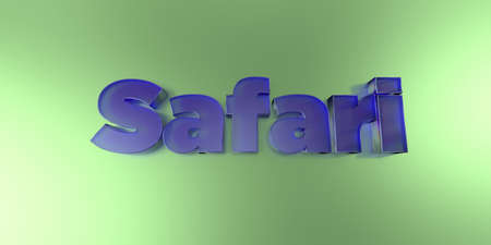 Safari - colorful glass text on vibrant background - 3D rendered royalty free stock image.