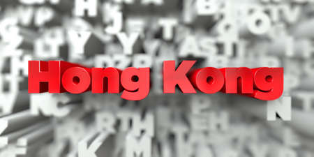 Hong Kong -  Red text on typography background - 3D rendered royalty free stock image. This image can be used for an online website banner ad or a print postcard.