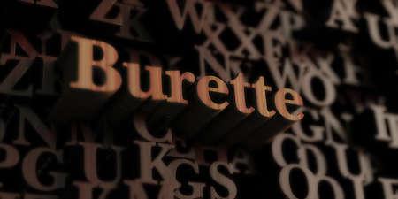 bureta: burette - Wooden 3D rendered lettersmessage.  Can be used for an online banner ad or a print postcard.