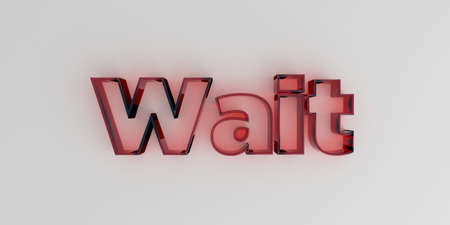 royalty free: Wait - Red glass text on white background - 3D rendered royalty free stock image.