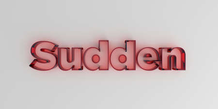 royalty free: Sudden - Red glass text on white background - 3D rendered royalty free stock image. Stock Photo