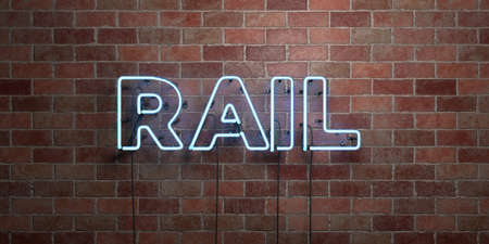 RAIL - fluorescent Neon tube Sign on brickwork - Front view - 3D rendered royalty free stock picture. Can be used for online banner ads and direct mailers. Foto de archivo