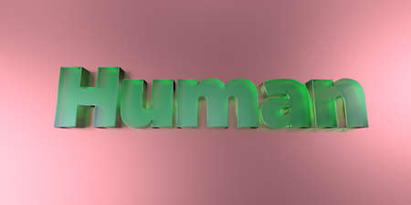 royalty free: Human - colorful glass text on vibrant background - 3D rendered royalty free stock image.