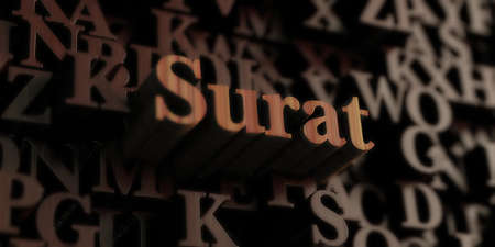 Surat - Wooden 3D rendered lettersmessage.  Can be used for an online banner ad or a print postcard. Stock Photo