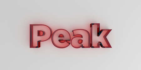 Peak - Red glass text on white background - 3D rendered royalty free stock image. Banco de Imagens