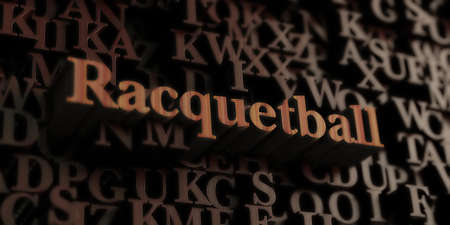 racquetball: Racquetball - Wooden 3D rendered lettersmessage.  Can be used for an online banner ad or a print postcard.