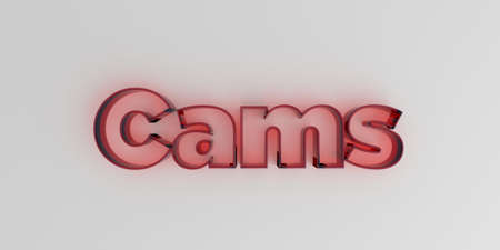 cams: Cams - Red glass text on white background - 3D rendered royalty free stock image. Stock Photo