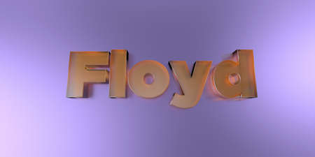 Floyd - colorful glass text on vibrant background - 3D rendered royalty free stock image.