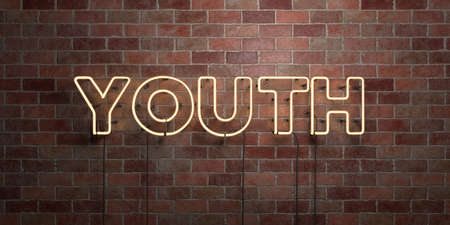 wording: YOUTH - fluorescent Neon tube Sign on brickwork - Front view - 3D rendered royalty free stock picture. Can be used for online banner ads and direct mailers.