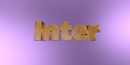 inter: Inter - colorful glass text on vibrant background - 3D rendered royalty free stock image.