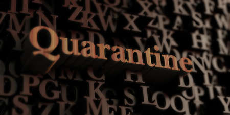 quarantine: quarantine - Wooden 3D rendered lettersmessage.  Can be used for an online banner ad or a print postcard. Stock Photo