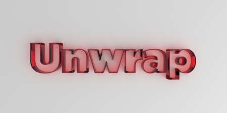 royalty free: Unwrap - Red glass text on white background - 3D rendered royalty free stock image.