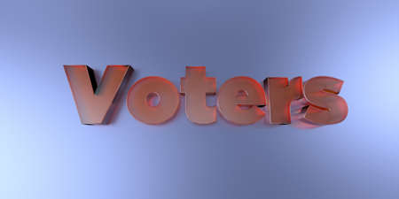 Voters - colorful glass text on vibrant background - 3D rendered royalty free stock image.