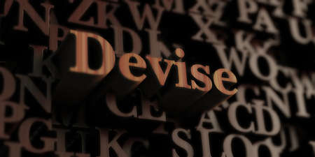 Devise - Wooden 3D rendered lettersmessage.  Can be used for an online banner ad or a print postcard. Stock Photo