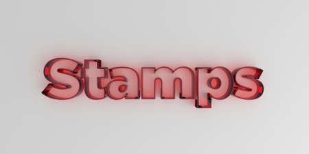 royalty free: Stamps - Red glass text on white background - 3D rendered royalty free stock image.