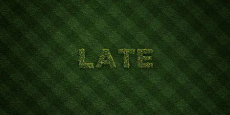 llegar tarde: LATE - fresh Grass letters with flowers and dandelions - 3D rendered royalty free stock image. Can be used for online banner ads and direct mailers. Foto de archivo
