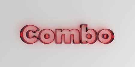 single word: Combo - Red glass text on white background - 3D rendered royalty free stock image. Stock Photo