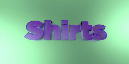 royalty free: Shirts - colorful glass text on vibrant background - 3D rendered royalty free stock image.